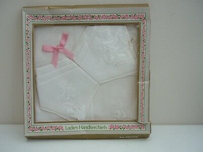 vintage ladies handkerchiefs, white cotton