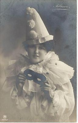 February - Young Lady In White Pierrot Costume, Black Eye Mask Vintage Postcard