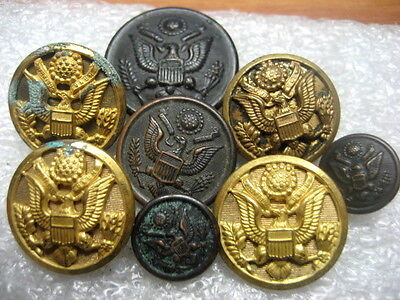 Vintage Uniform Buttons US Army ww2, lot of 8
