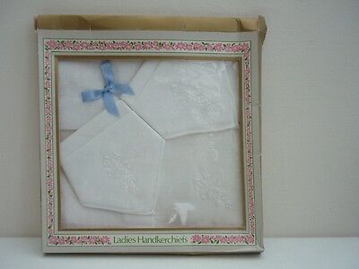 vintage ladies white cotton handkerchiefs