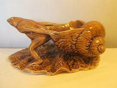 antique WATCOMBE torquay pottery FROG PULLING SNAIL SHELL figurine DISH Brown AF