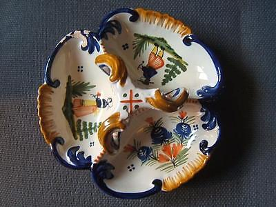 QUIMPER French Faience Pottery TREFOIL SERVING DISH hand painted CONTINENTAL