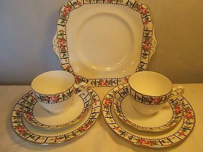Grafton TRELLIS ROSE 4051 early 20thC TEA FOR TWO trios cake plate cups saucers