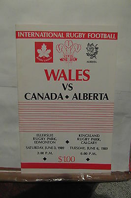 1989 CANADA V WALES rugby union programme