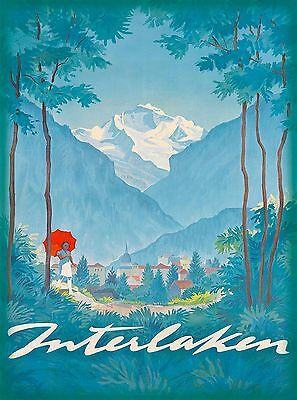 Interlaken Bern Switzerland Swiss Alps Vintage Travel Advertisement Art Poster