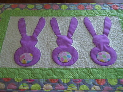 Easter Lavender Bunnies Designer Wall Hanging Table Runner Quilted Topper
