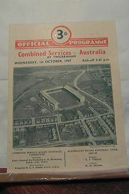 1947 combined services v australia rugby union programme