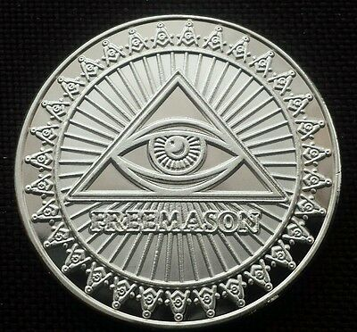 Mexico Myth Pyramid Triangle & Eye Commemorative Silver Plated Coin