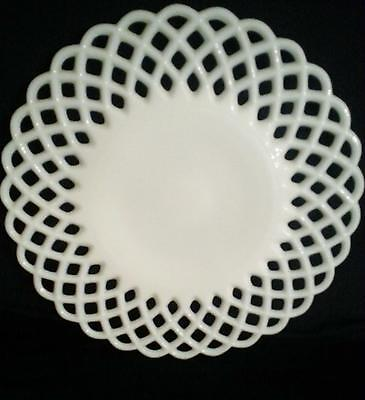"Vintage Milk Glass Cake Plate 12"" Open Weave Edge Very Pretty!!! XLNT Cond."