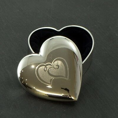 Silver Plated Entwined Rings Hearts Design Wedding Rings Box Trinket Box
