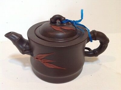 Chinese Yixing Zisha Mud Clay Figural Teapot Signed Lid Bamboo Handle And Spout