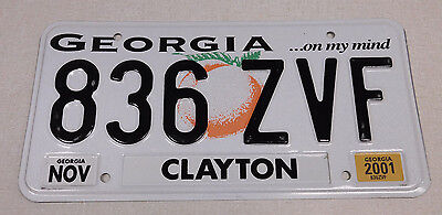2001 Georgia passenger car license plate Clayton county