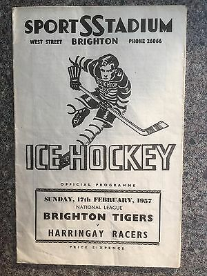 Ice hockey programme Brighton v Harringay 1957