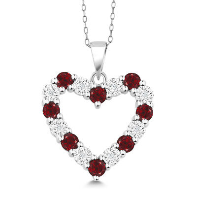 """Diamond and Red Garnet 925 Sterling Silver Heart Pendant Necklace on 18"""" Chain"""