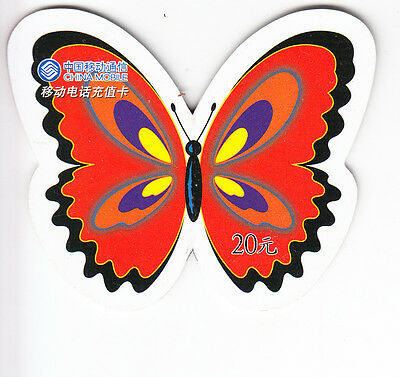 Asie  Telecarte / Phonecard .. Chine 20Y C. Mobile Papillon Butterfly 3D Decoupe