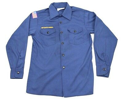 Official Boy Scouts Of America Youth Large Long Sleeve Shirt Blue Cub Uniform