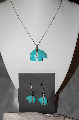 Navajo Sterling Turquoise Bear Necklace And Earring Set