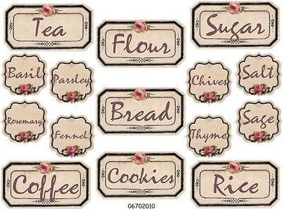 NEW! SHaBbY ViNTaGe RoSe CaNisTer & SPiCe LaBeLs WaTerSLiDe DeCALs