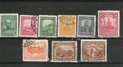 Colombia C1930 colection of 9 used stamps