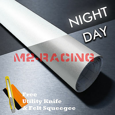 *Reflective White DIY Vinyl Car Wrap Sticker Decal Graphic Sign Adhesive Film