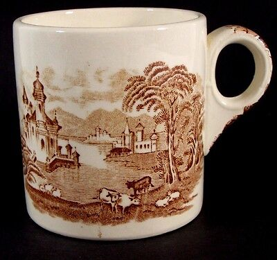 Vintage Red Toille Pastoral Coffee Mug by Maling Newcastle on Tyne England