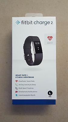 Fitbit Charge 2 Activity Tracker + Heart Rate (Large) Black - BRAND NEW SEALED