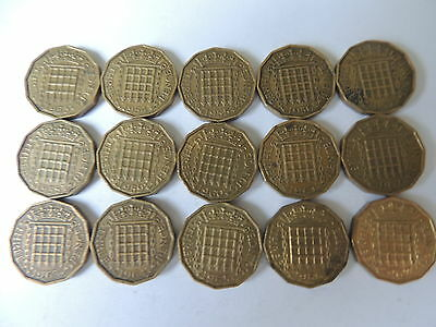 DATE RUN OF 15 THREEPENCE COINS (1953 TO 1967 INCLUSIVE) ref BX3