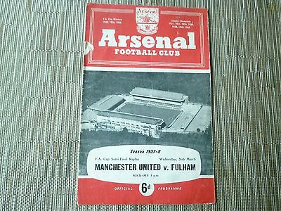 1957/58 FA CUP Semi Final Replay MANCHESTER UNITED v FULHAM