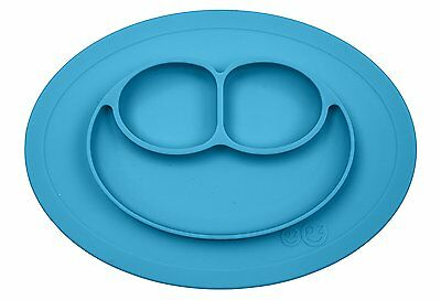 ezpz Mini Mat - One-piece silicone placemat + plate Blue, One Size