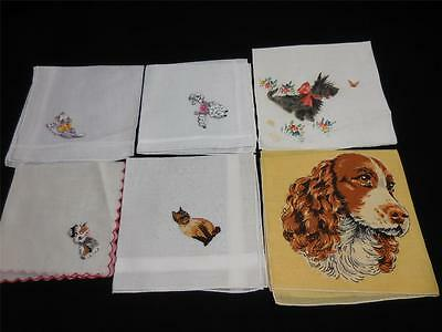 6 Vintage Whimsical Cute Cats & Dogs Some Rhinestone Eyed Hankies H-#3
