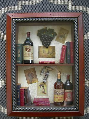 Wine Art Deco Shadow Box Wall Hanging Wood Frame with Wine Bottles and Books