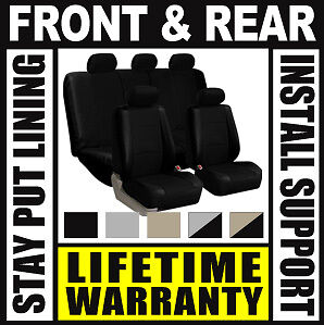 Solid Black Deluxe Syn Leather Full Car Seat Covers Set OEM Waterproof SUV Aiy