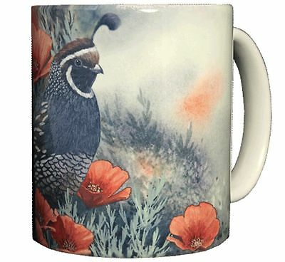 California Quail & Poppies 11 OZ. Ceramic Coffee Mug or Tea Cup