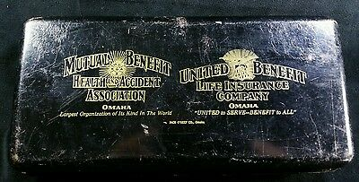 Vintage O'Keef Co Steel Strong Box w Mutual of Omaha & United Benefit Logos