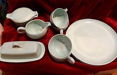 Taylor Smith Taylor Turquoise 2 Dinner Plates 4 Cups Covered Butter Cream Sugar