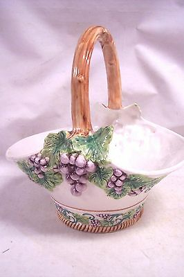 Gumps Italy Hand Painted Large Ceramic Basket Grapes