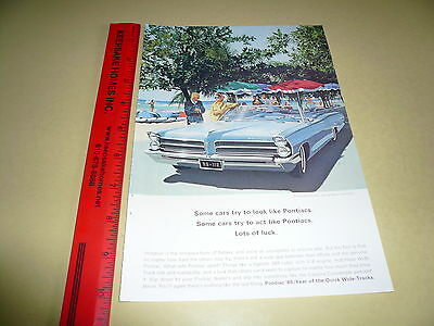 1965 Pontiac Full Size Blue Convertible Ad Advertisement Vintage Wide-Track