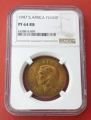1947 SOUTH AFRICA PENNY NGC Graded PF 64 RB PROOF RED BROWN! KM# 25 Bronze Coin
