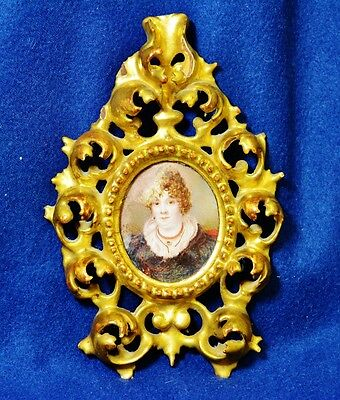ANTIQUE 1890s FRENCH VICTORIAN PASTEL PORTRAIT ON IVORY GESSO FRAME
