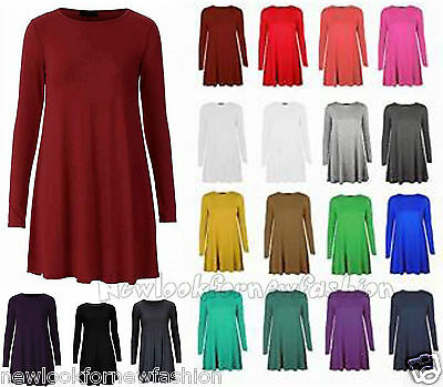 New Ladies Long Sleeve Womens Stretch Plain Sexy Skater Flared Swing Dress Top