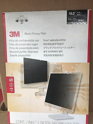 """NEW 3M Black Privacy Filter for Desktop LCD Monitor 19.0"""" PF19.0"""