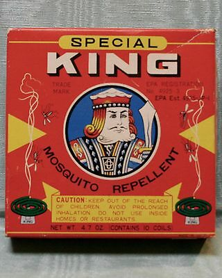 Vintage King Mosquito Repellent Box & 2 Coils - Great Graphics - Osaka Japan