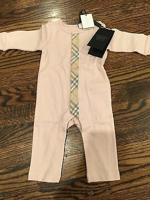 Pink Burberry Check Trim Cotton Jumpsuit
