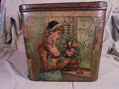Antique Store Lithographed Store Tin Women Of Five Countries 19th Century