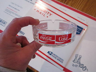 "Vintage German Trink Coca Cola schutzmarke Glass Ashtray 4"" x 2 1/2"" Shown Well"