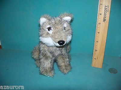 "BEAUTIFUL FUR  & EYES  MINT CONDITION WOLF PLUSH TOY 6.5"" high coyote"