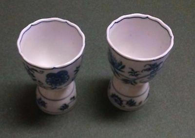 Set Of 2 Blue Danube Onion Egg Cups Ribbon Mark