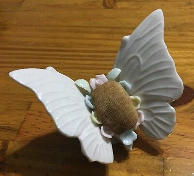 Vintage 1960's Porcelain Butterfly Floral Pin Cushion NICE