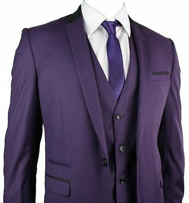 Purple New Wedding Groom Tuxedos 3 Pieces Best Man Groomsmen Suit Party Tuxedo