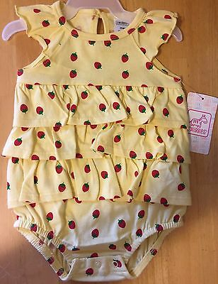 Infant Girls Size 3-6 M Yellow Strawberry Outfit NWT Swiggles